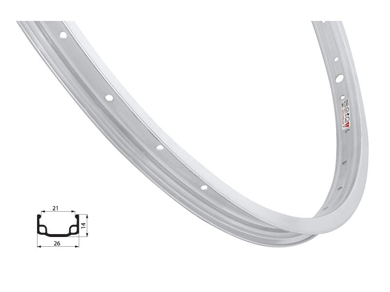 Ráfek pro dětská kola Remerx RMX21, jednostěnný, stříbrný - 16 palců, 305 x 21, 20 děr
