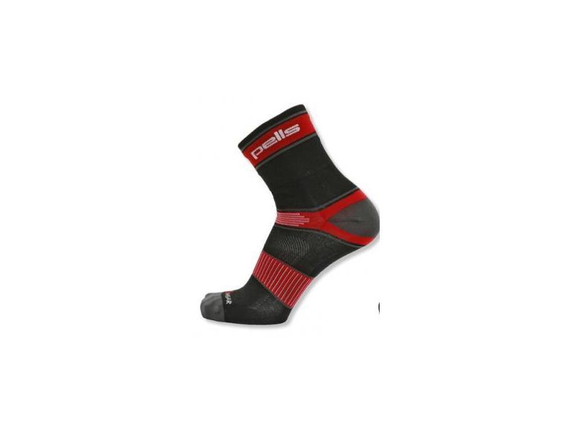 Ponožky PELLS RACE Long - černá/červená - Velikost 44-45