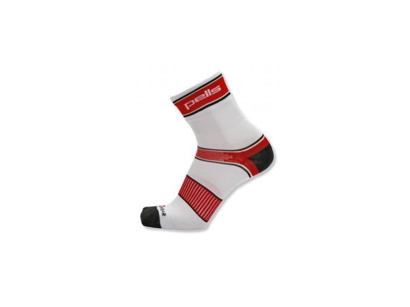 Ponožky PELLS RACE Long - bílá/červená - Velikost 44-45