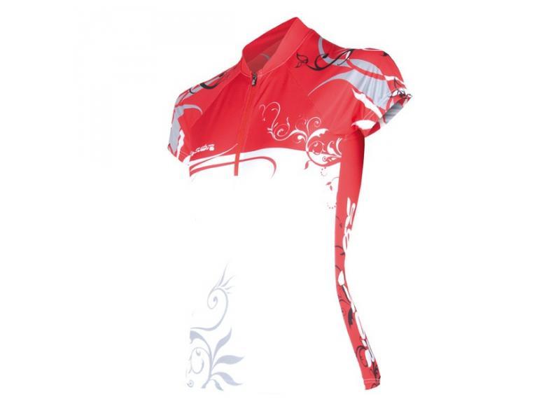 Dámský dres SENSOR Flowers Evo červený - velikost L