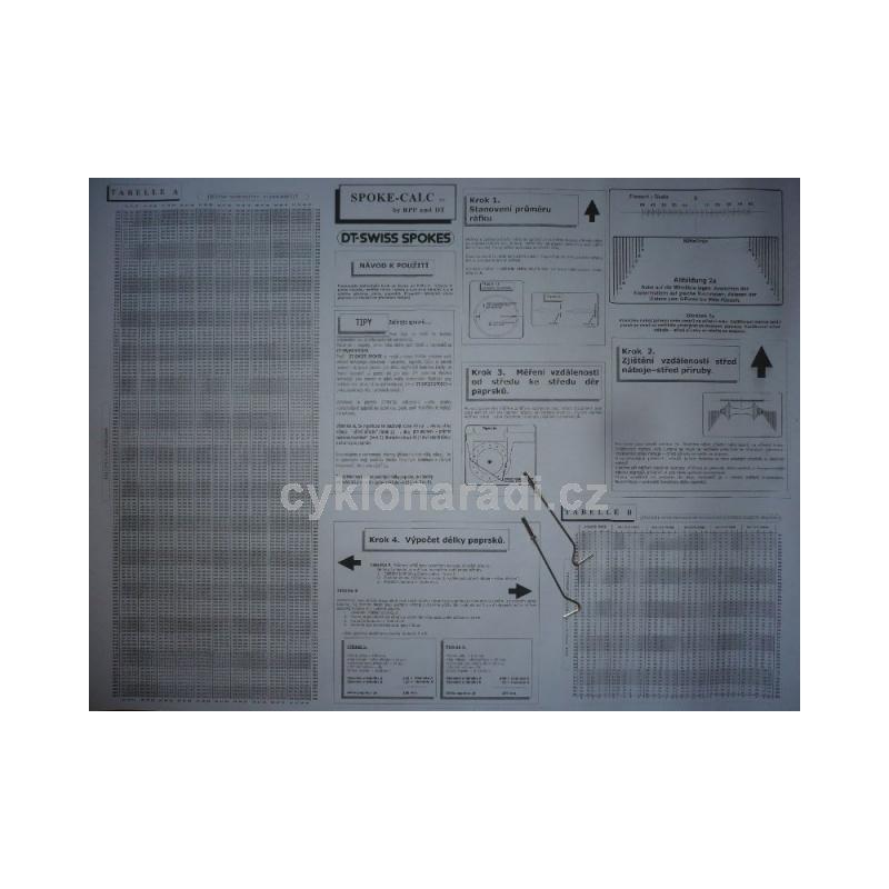 Tabulka DT Swiss na výpočet délky paprsků SC
