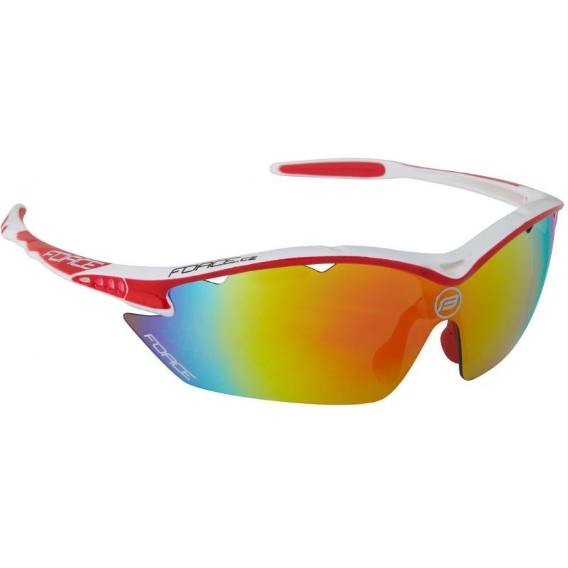 FORCE RON bílé sportovní brýle, červená laser skla 91011