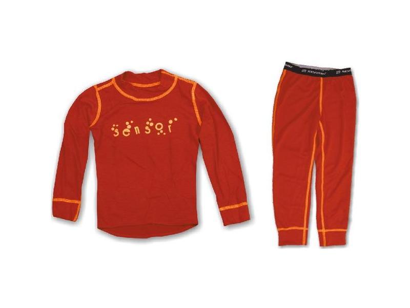 Komplet Sensor Double Face - dětské triko s dlouhým rukávem + spodky, červené - velikost 110