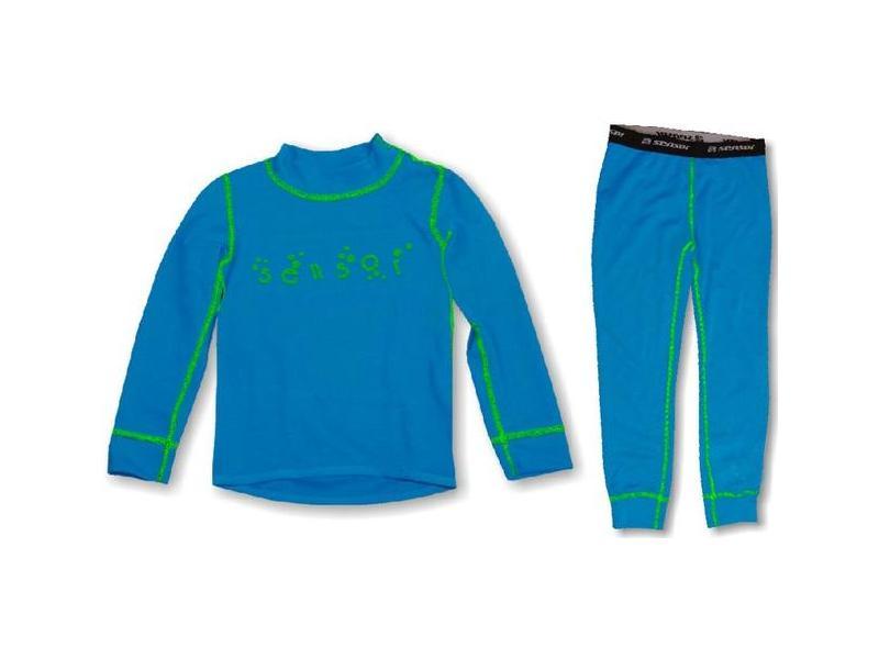 Komplet Sensor Double Face - dětské triko s dlouhým rukávem + spodky, modrá, zelená - velikost 120