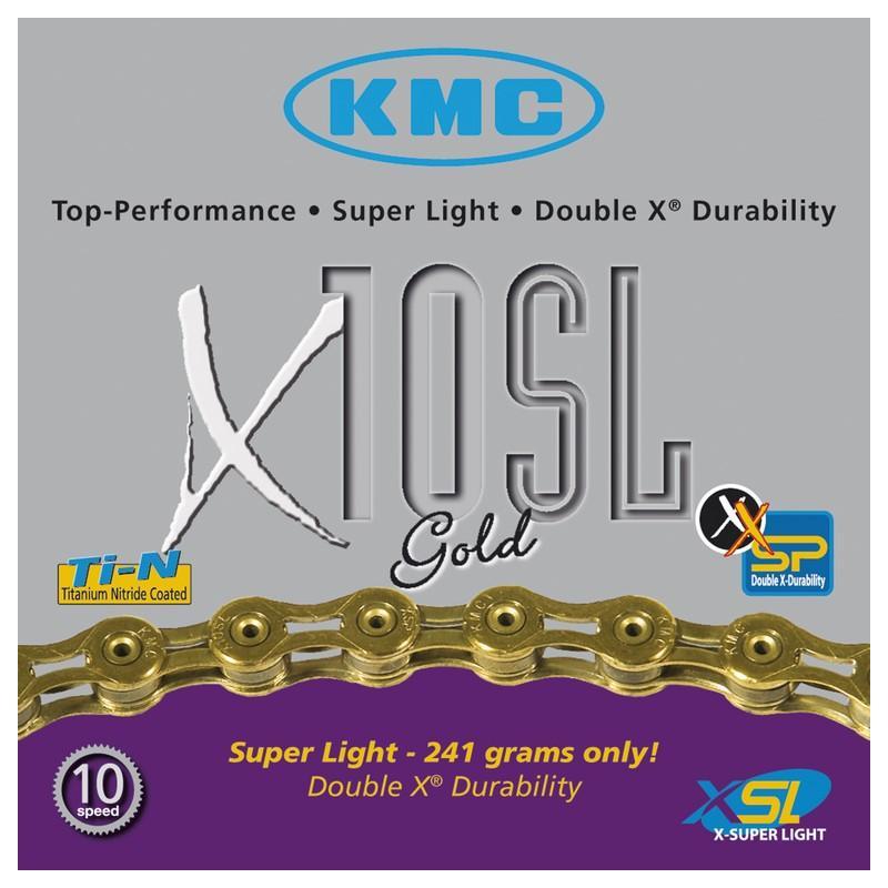 Řetěz KMC X-10 SL - balený, zlatý (10s)