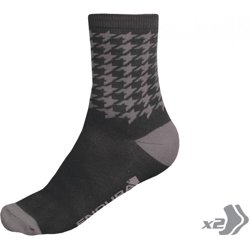 Ponožky Endura Houndstooth - Black - E0103BK - Velikost L-XL