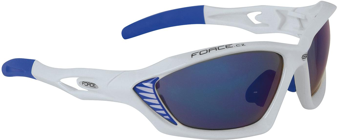 Brýle FORCE MAX - bílé, modrá laser skla 90980