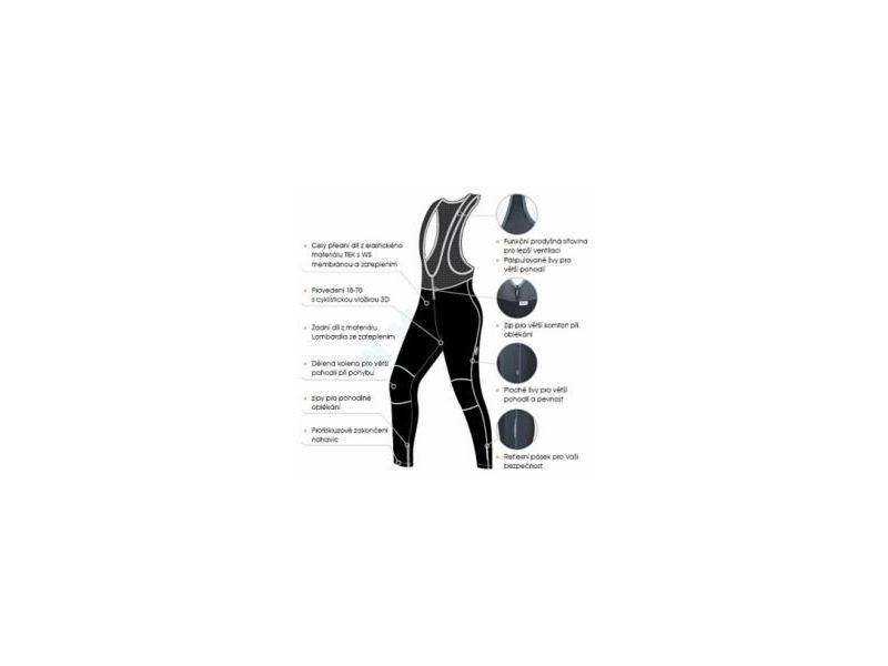 Kalhoty Etape Sprinter WS - pánské, lacl, zateplené, černo-šedá - černo-červené - velikost M