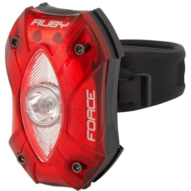Zadní světlo FORCE RUBY, 1 dioda + baterie 45375