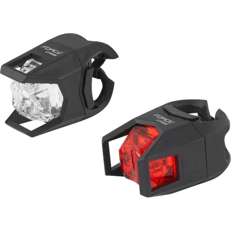 Fotografie Sada světel FORCE CAGE přední bílá + zadní červená 45440