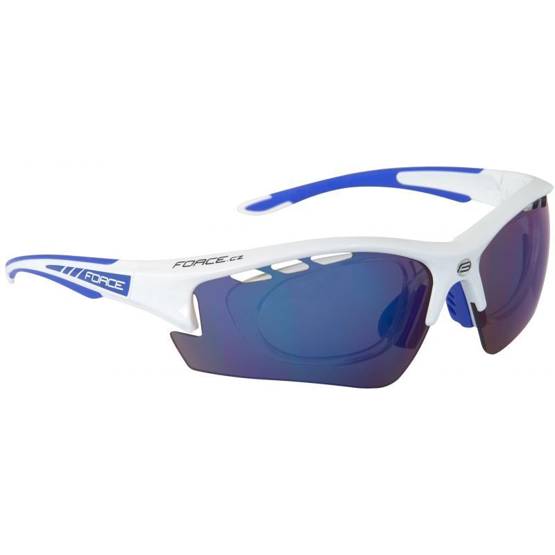 Brýle FORCE RIDE PRO bílé diop.klip,modrá laser skla 909220
