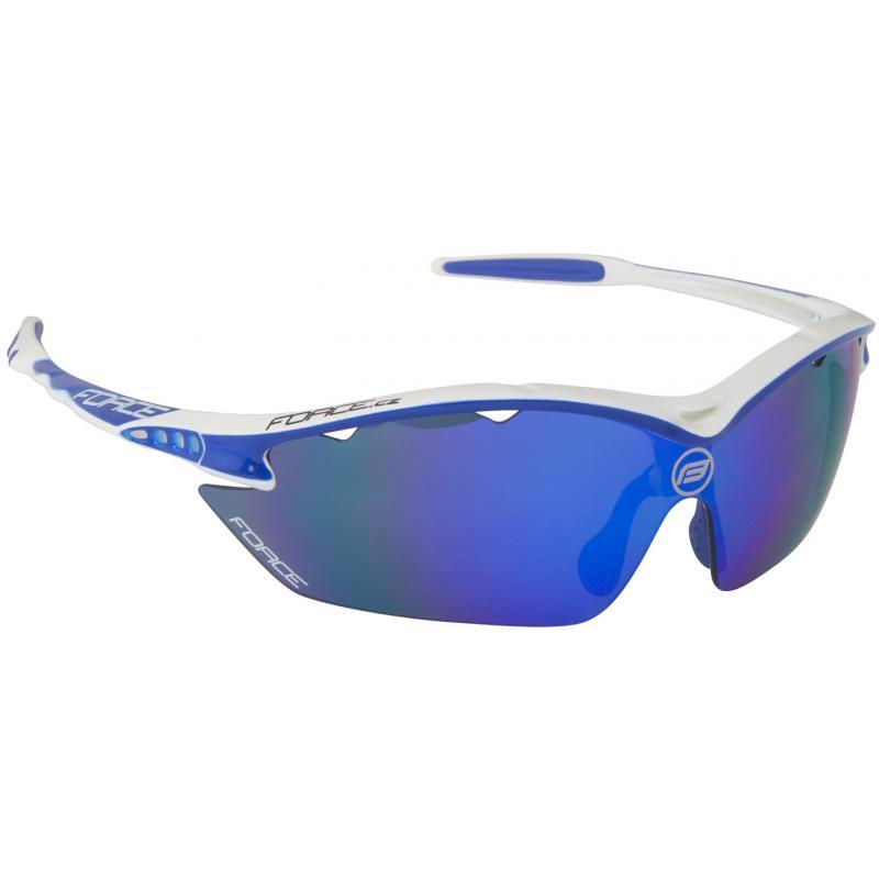 FORCE RON bílé sportovní brýle, modrá laser skla 91010