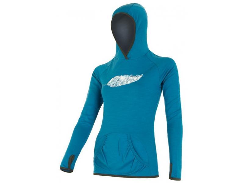 Mikina Sensor Merino Wool Upper Feather - dámská, klokanka, modrá - velikost L