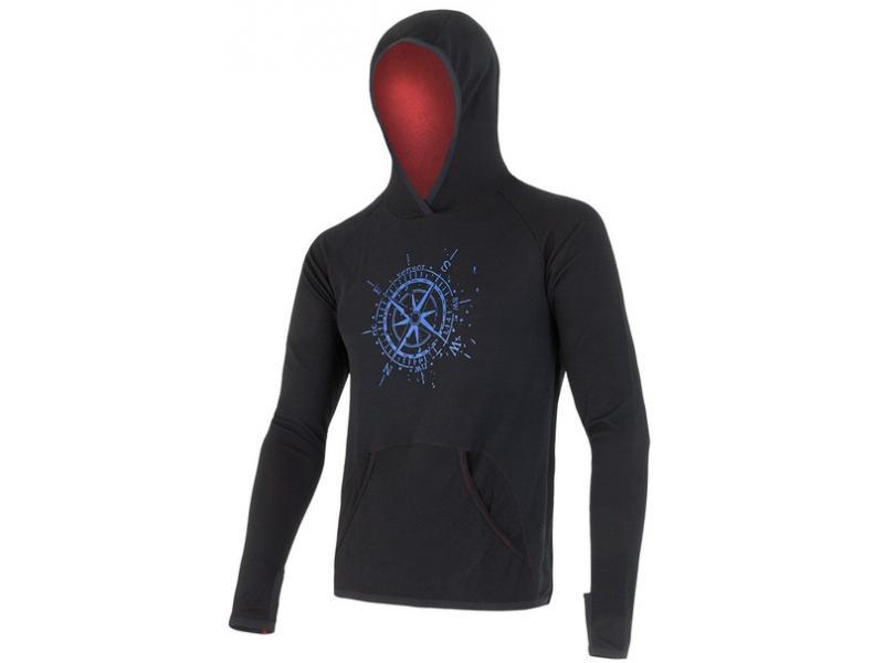 Mikina Sensor Merino Wool Upper Kompas - pánská, klokanka, černá - velikost M