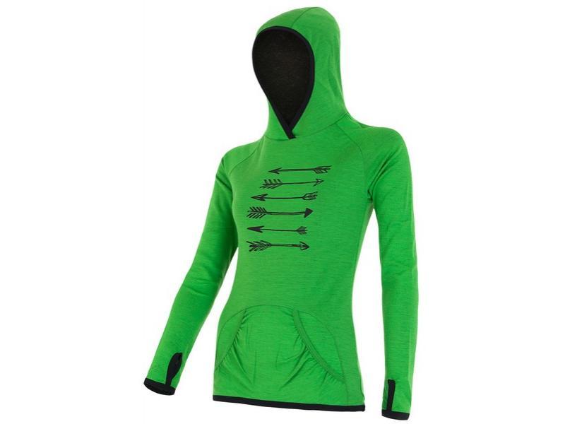Mikina Sensor Merino Wool Upper Šípy - dámská, klokanka, zelená - velikost XL