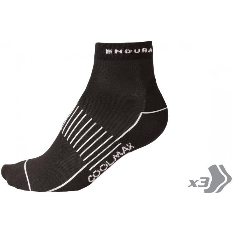 Ponožky Endura Coolmax Race II (3páry v balení): Black - velikost L-XL
