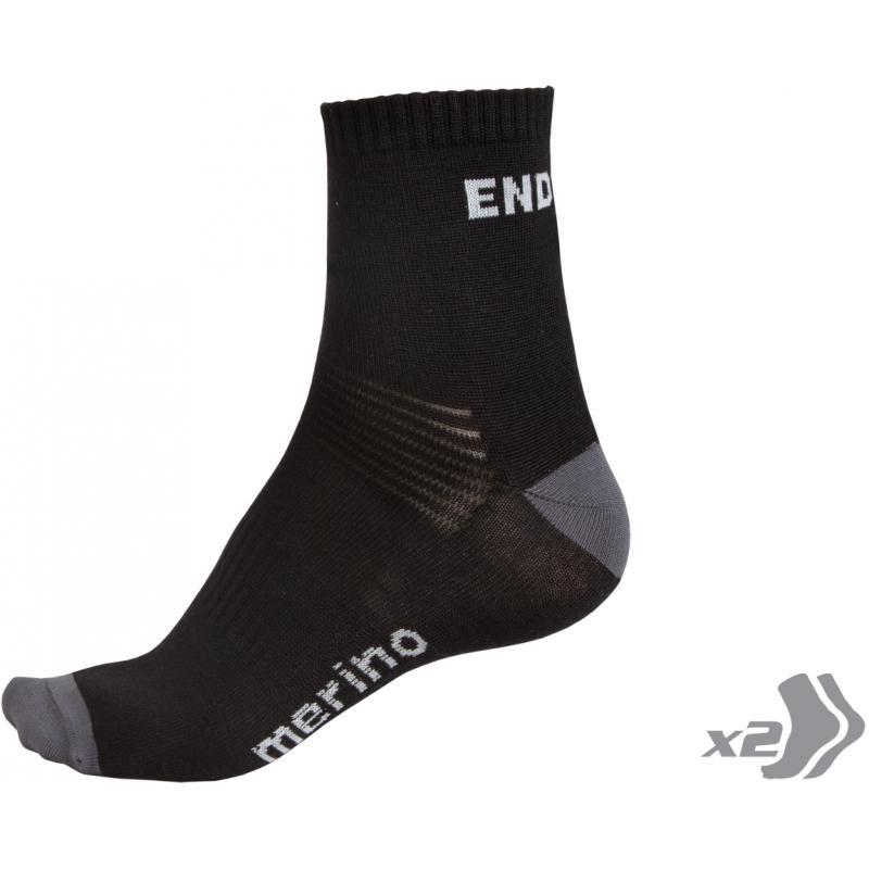 Ponožky Endura BaaBaa Merino - (2páry v balení) černé E0035 - Velikost L / 43 - 46,5(9-12)