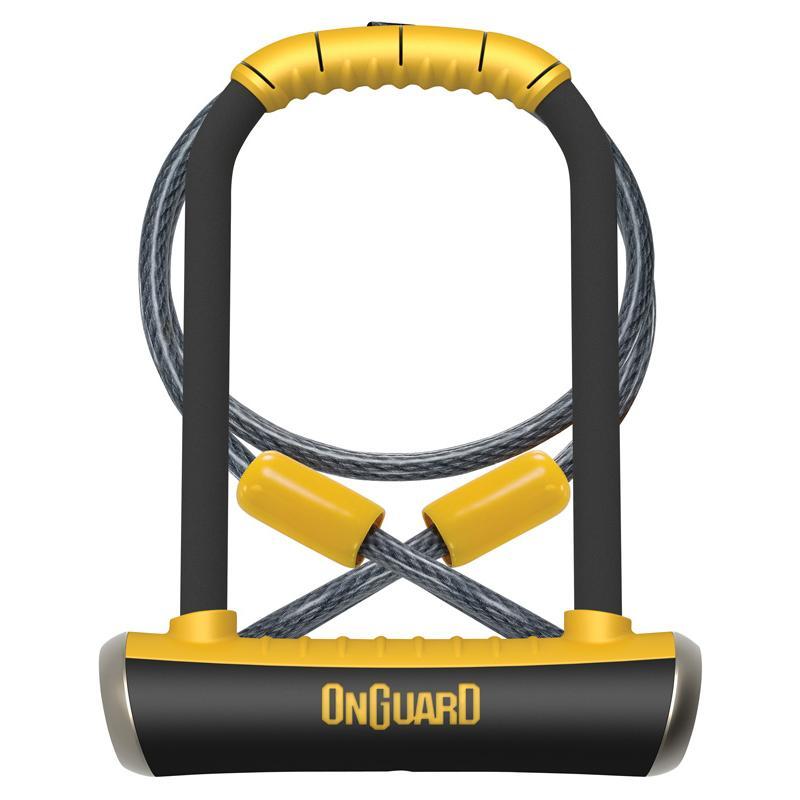 Zámek Onguard Pitbull podkova 115x230x14mm + lanko 1200x10mm, 5klíčů, držák