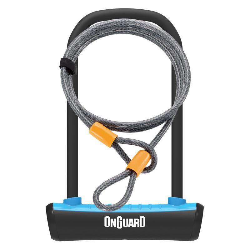 Zámek Onguard podkova 115x230x11mm + lanko 1200x10mm, modrá, 2klíče, držák