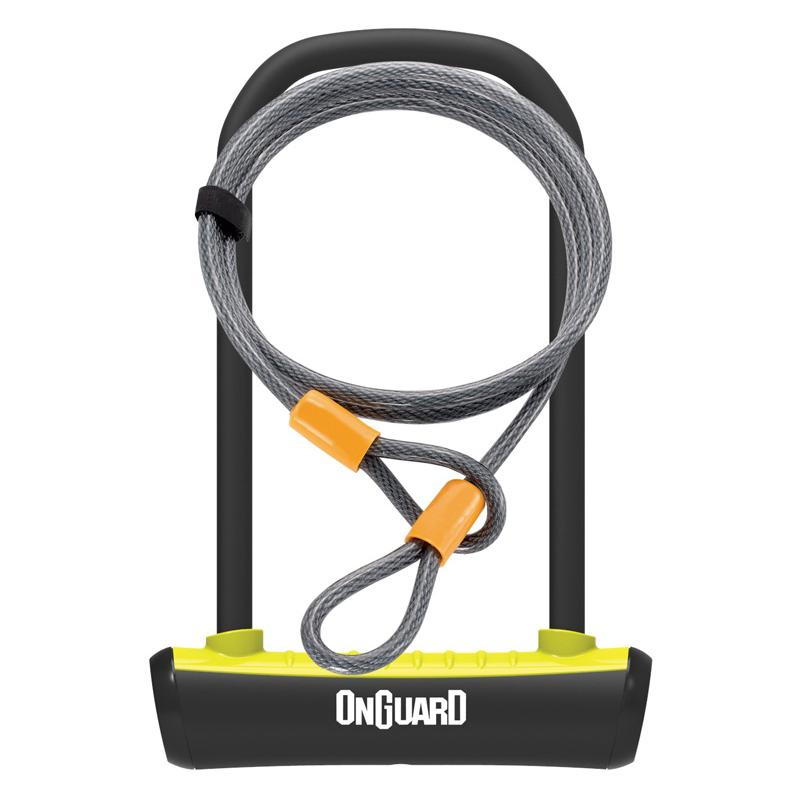 Zámek Onguard podkova 115x230x11mm + lanko 1200x10mm, žlutá, 2klíče, držák