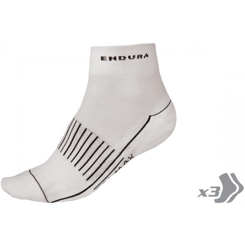 Ponožky Endura Coolmax Race II (3páry v balení): White - velikost L-XL