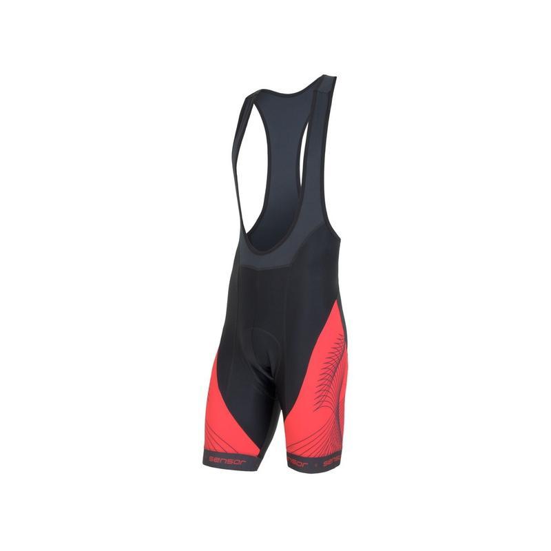 Kalhoty Sensor Cyklo Team + - pánské, s laclem, černá/červená - velikost L
