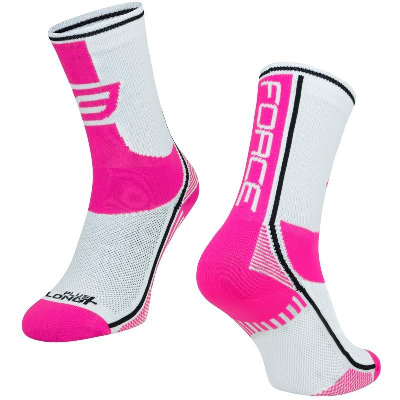 Ponožky Force Long Plus - růžovo-černo-bílé - velikost L-XL / 42-47