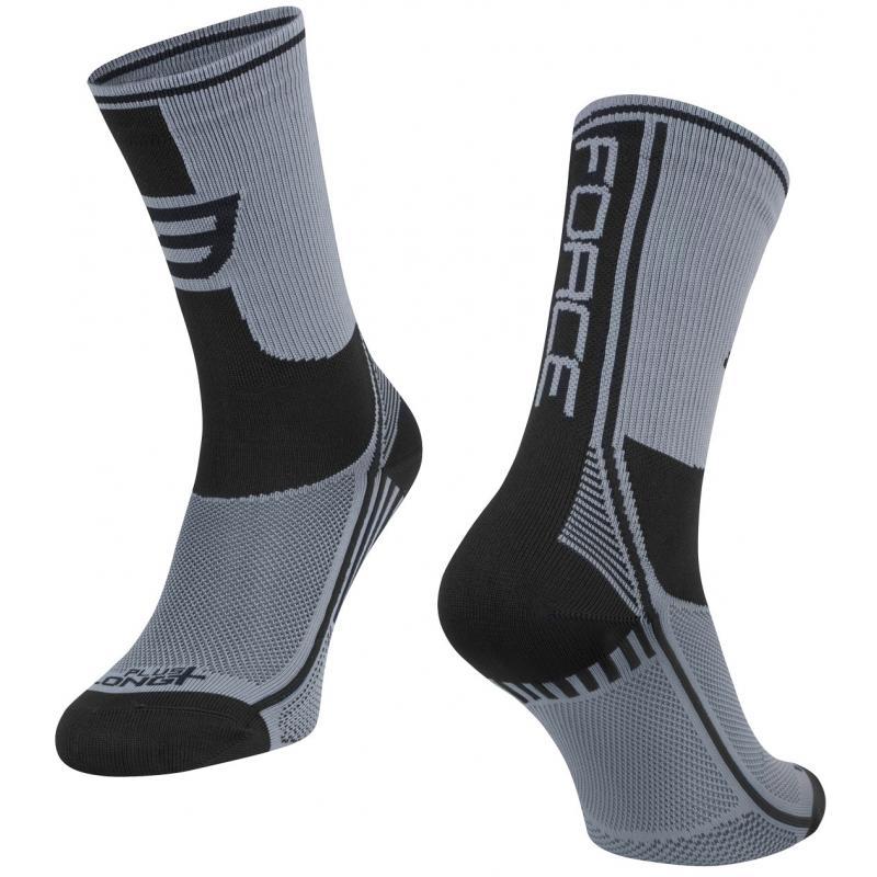 Ponožky Force Long Plus - šedo-černé - velikost L-XL / 42-47