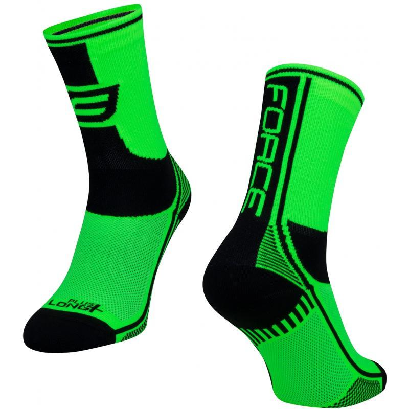 Ponožky Force Long Plus - zeleno-černo-bílé - velikost L-XL / 42-47