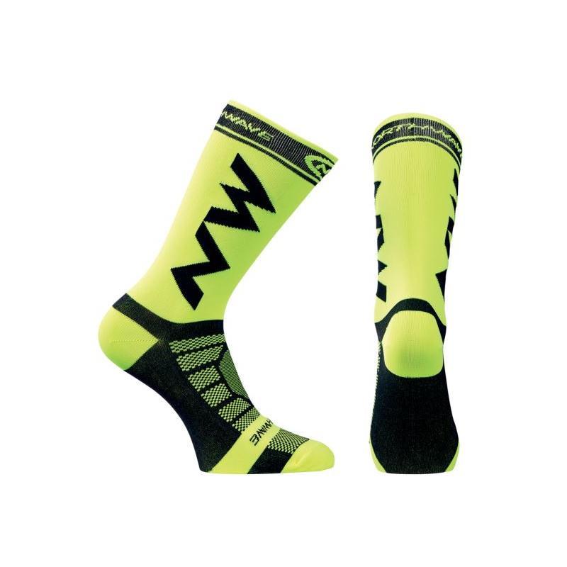 Ponožky Northwave Extreme Pro - nad kotník, fluo žluto-černá - velikost L (44-47)